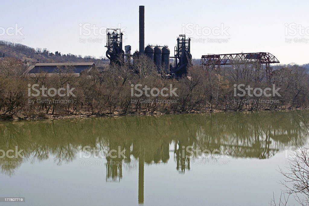 Carrie Blast Furnace & Gantry Crane Reflections stock photo