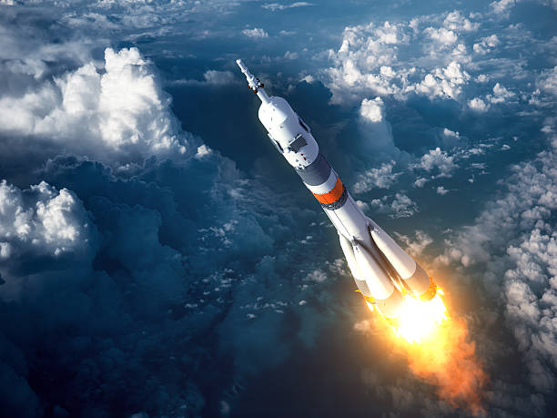 Carrier Rocket Launch In The Clouds stock photo