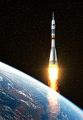 Carrier Rocket Launch. 3D Scene.