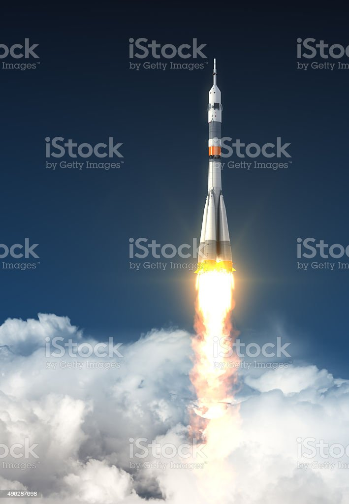 Carrier Rocket Over The Clouds stock photo