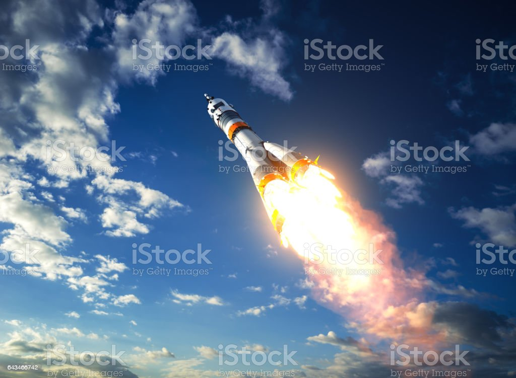 Carrier Rocket Takes Off To The Clouds stock photo