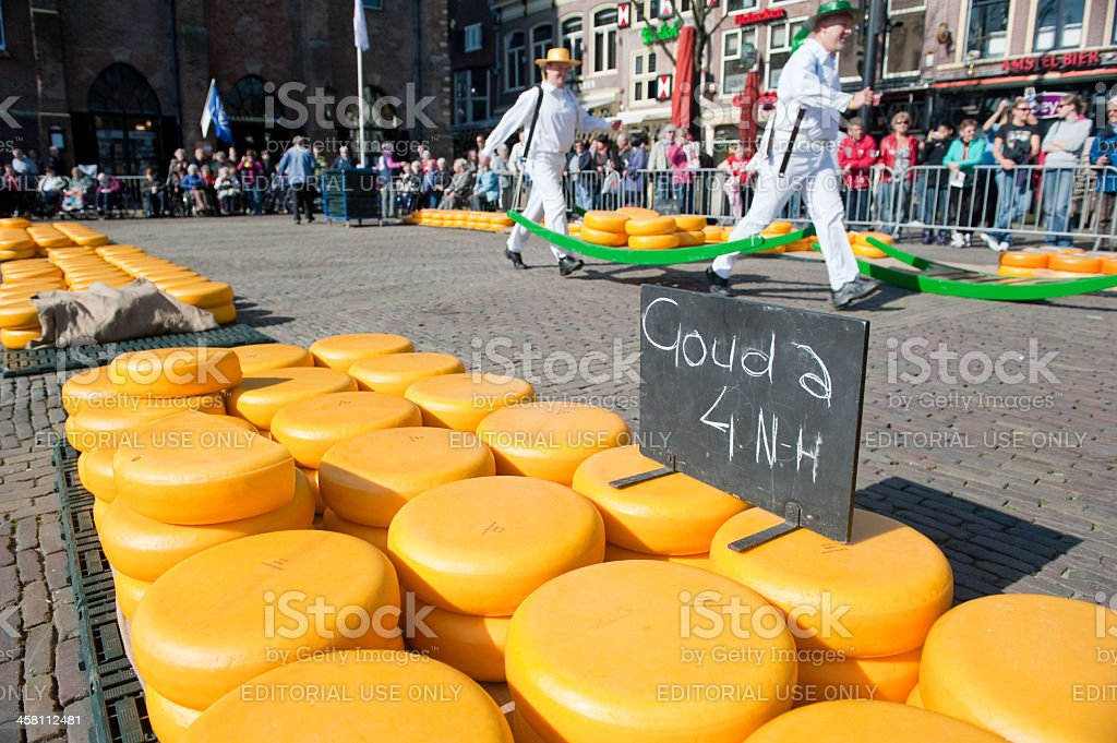 Carriers at Alkmaar cheese market royalty-free stock photo