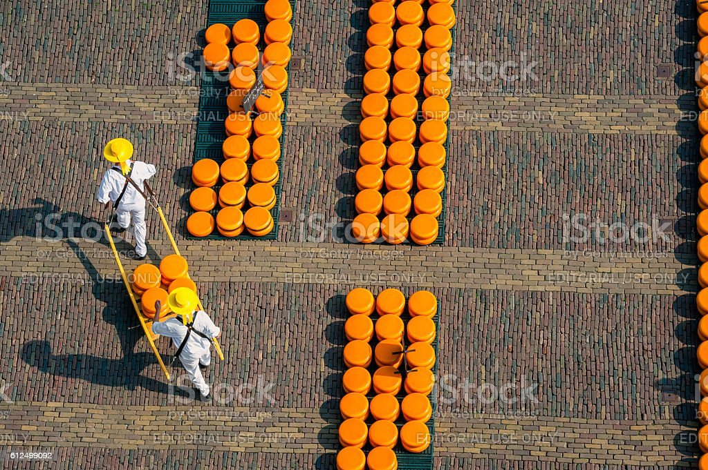 Carriers at Alkmaar cheese market, seen from above stock photo