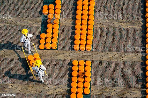 Carriers at Alkmaar cheese market, seen from above