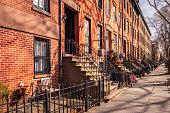 A row of brownstones in Carroll Gardens, Brooklyn NY. USA