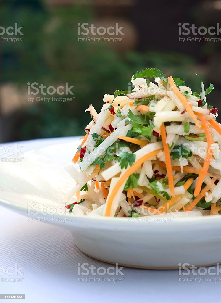 Carrot and jicama salad with cilantro stock photo