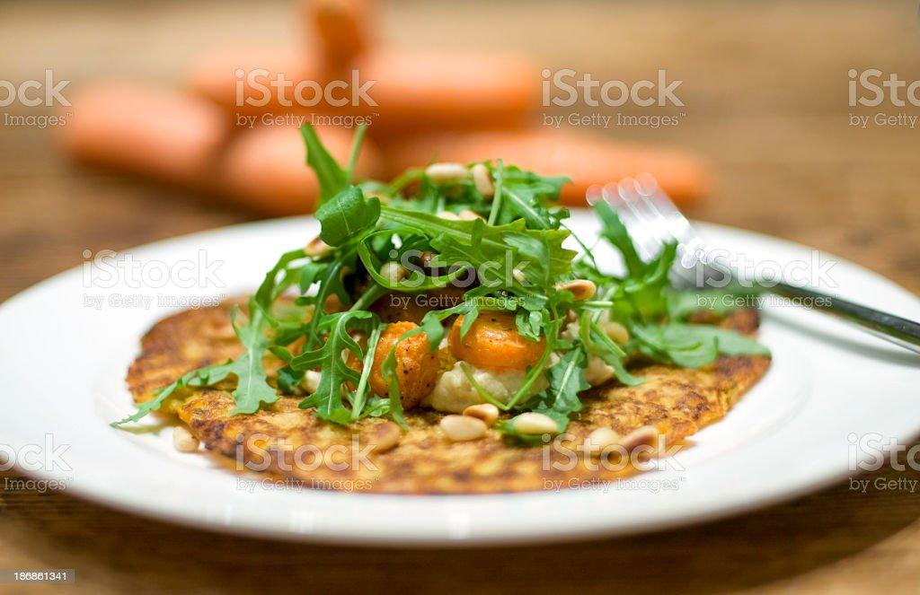 Carrot and polenta pancakes royalty-free stock photo