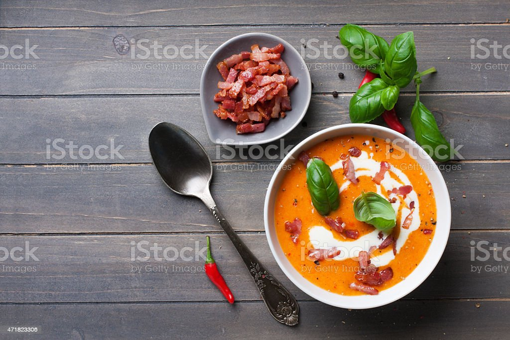 A carrot and sweet pepper soup meal stock photo