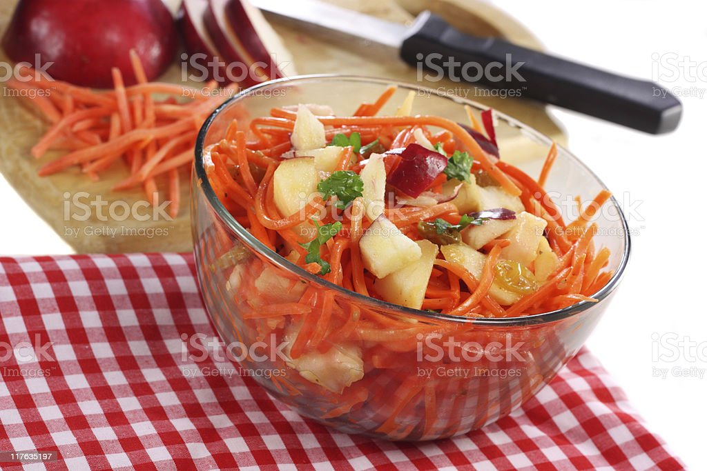 Carrot Apple and Raisin salad stock photo