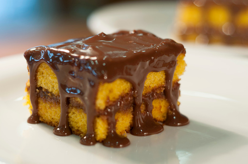 Carrot cake with chocolate icing