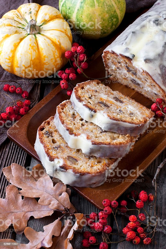 Carrot cake with cream  frosting stock photo