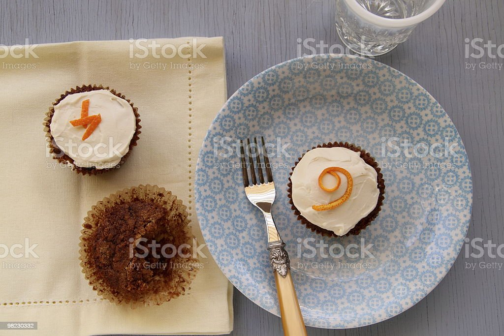 Carrot Muffins with Cream Cheese Frosting royalty-free stock photo