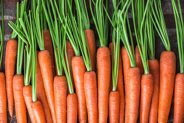 carrot overhead group lined up on old brown wooden table - cenoura imagens e fotografias de stock