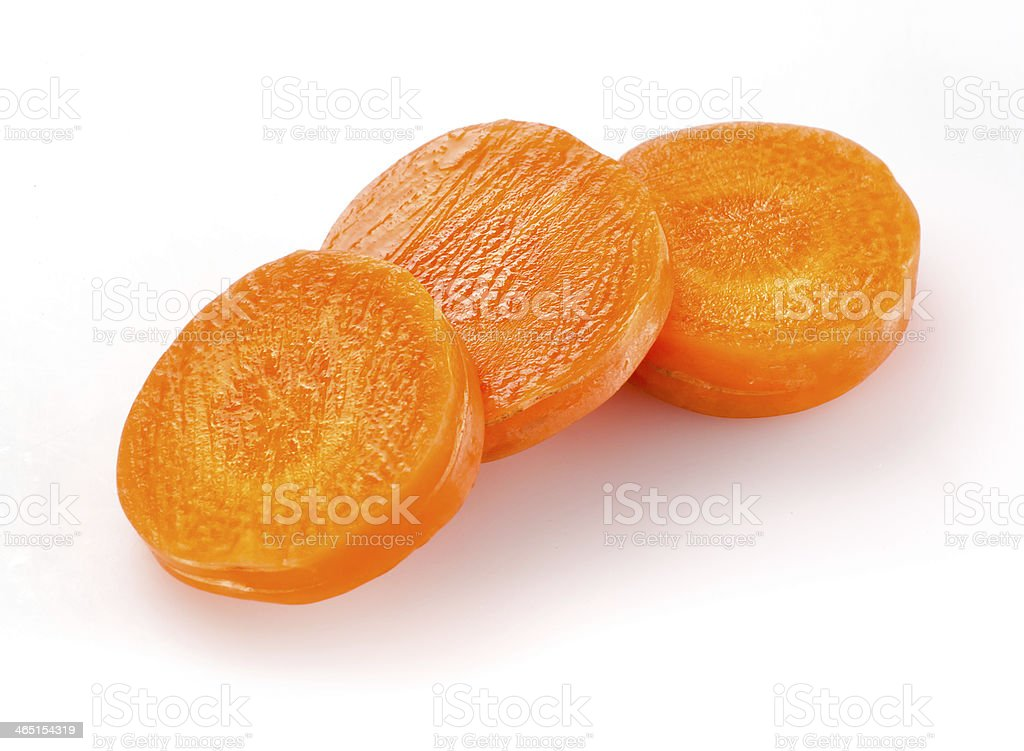 Carrot slices isolated on white royalty-free stock photo
