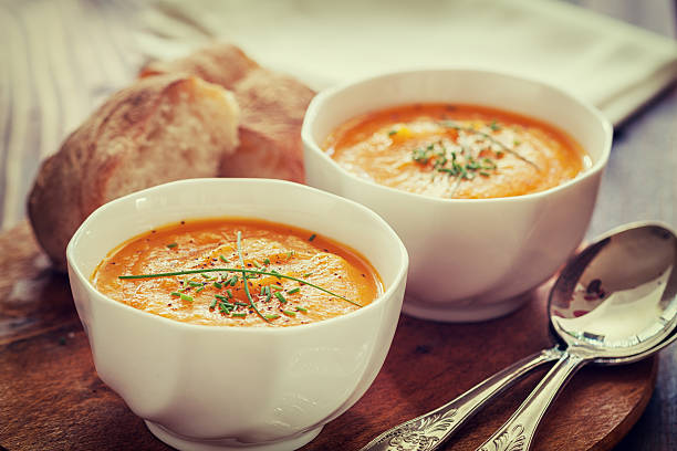 Carrot Soup Homemade Carrot Soup vegetable soup stock pictures, royalty-free photos & images