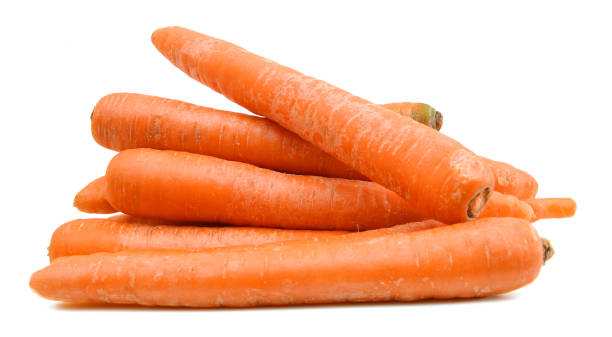 carrot tubers isolated on white background - cenoura imagens e fotografias de stock