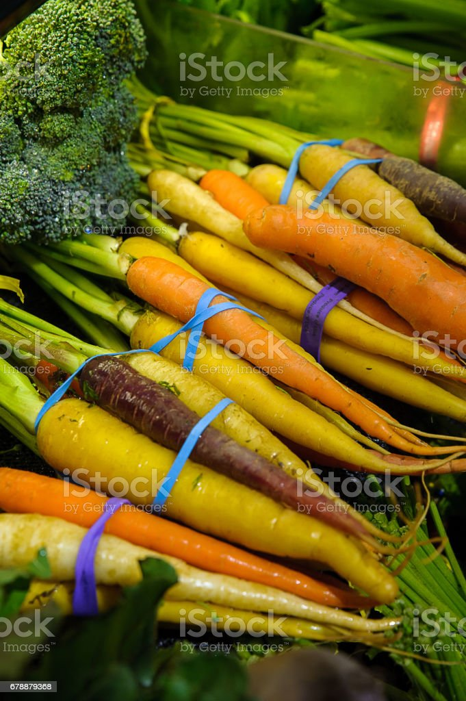 Carrot varieties in bunch at the Farmer`s market royalty-free stock photo