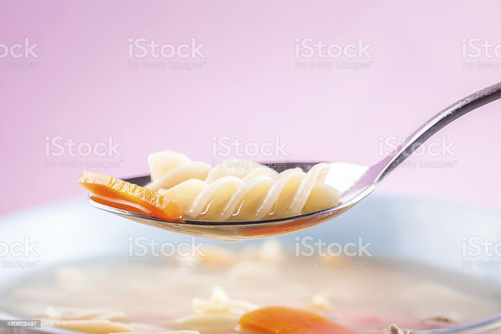 carrot with pasta soup royalty-free stock photo