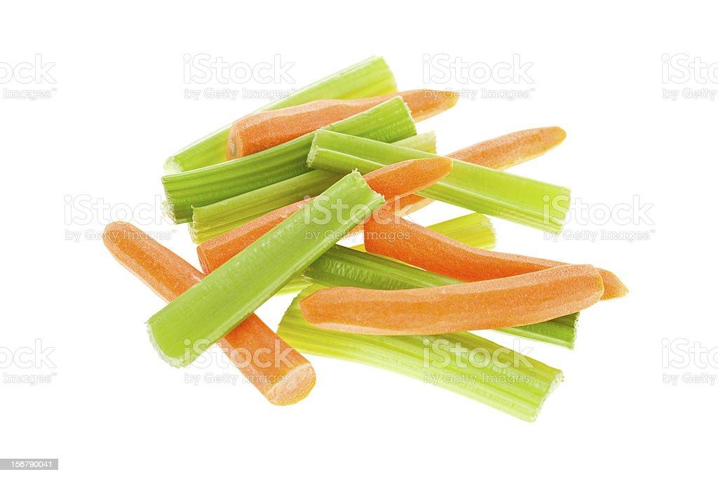Zanahorias y verde apio - foto de stock