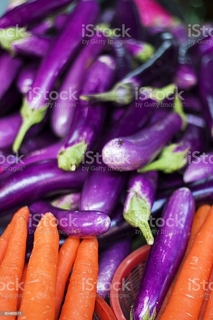 Carrots and Eggplants royalty-free stock photo