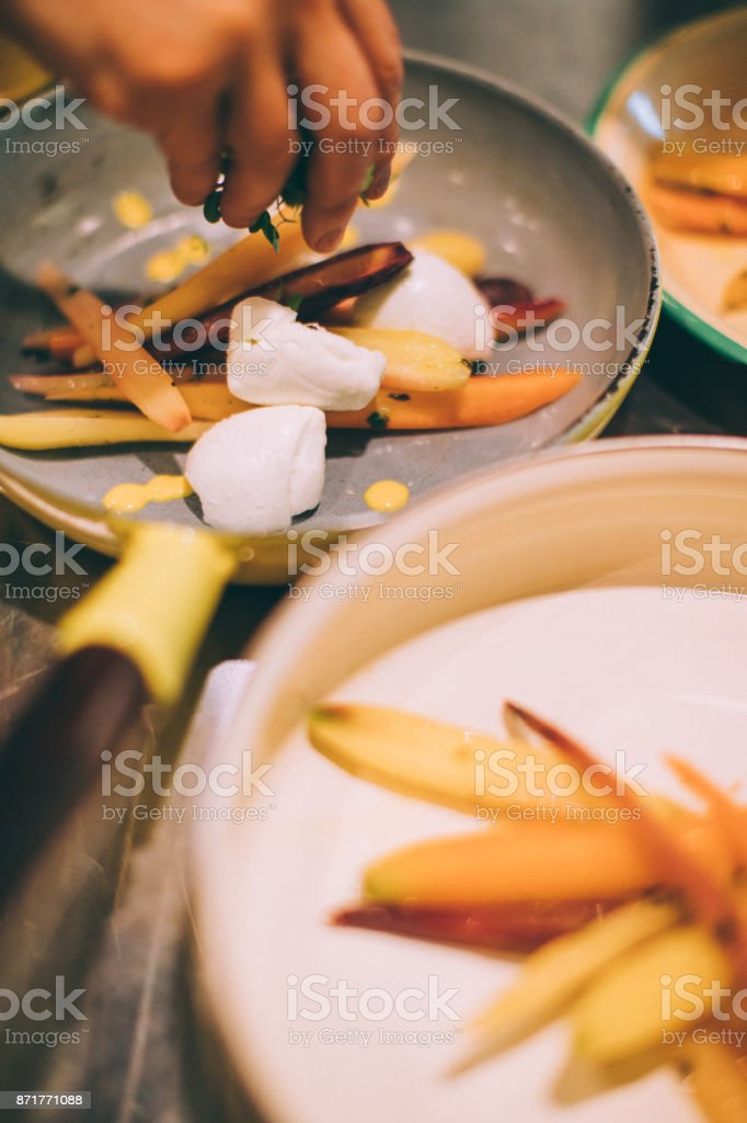 Carrots and Mozzarella di Bufala stock photo