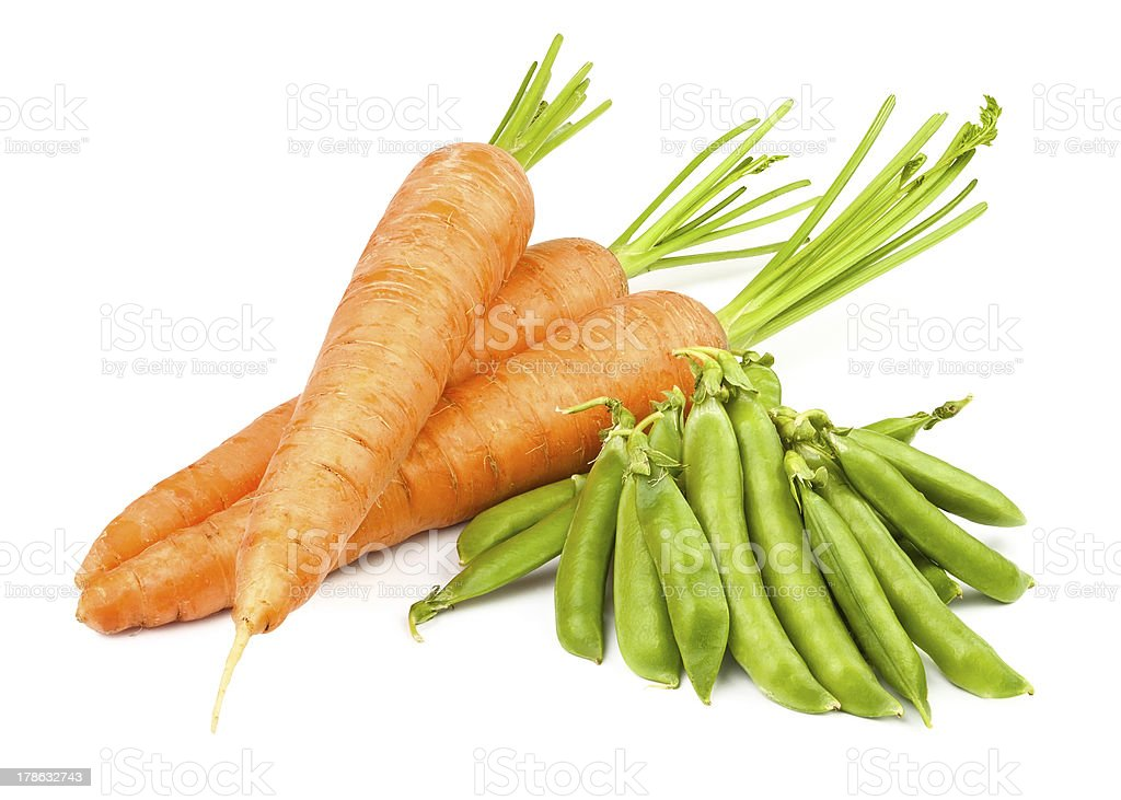 carrots and peas pod stock photo