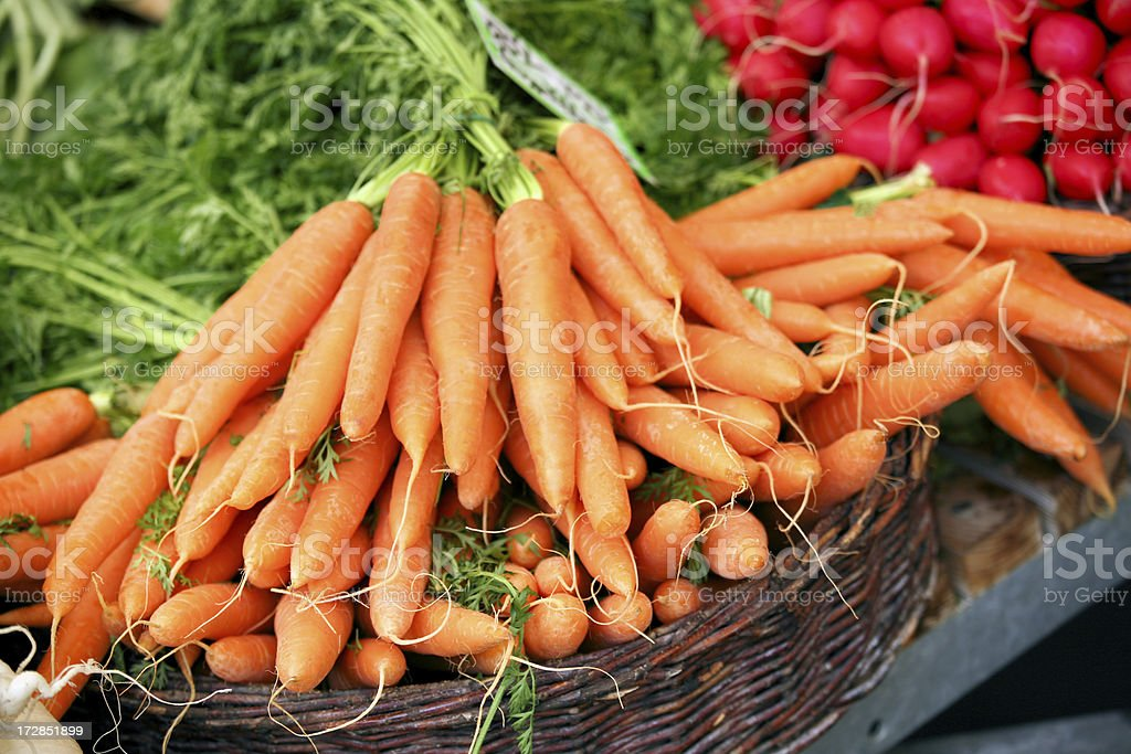 Carrots at a farmers market royalty-free stock photo