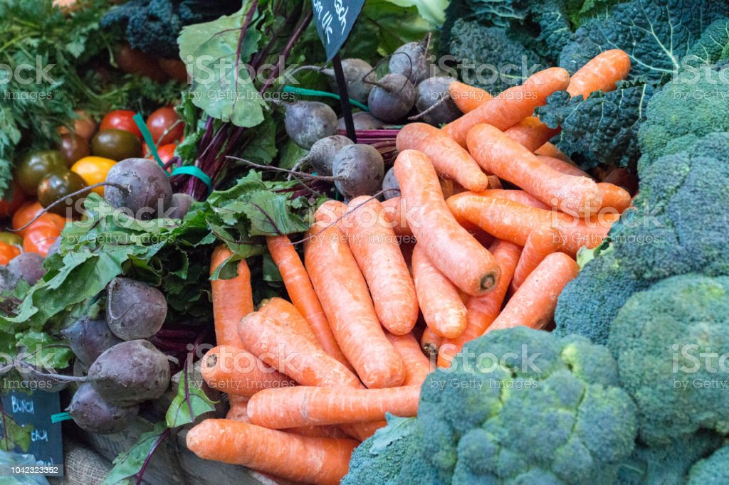 Carrots in Borough Market, London stock photo