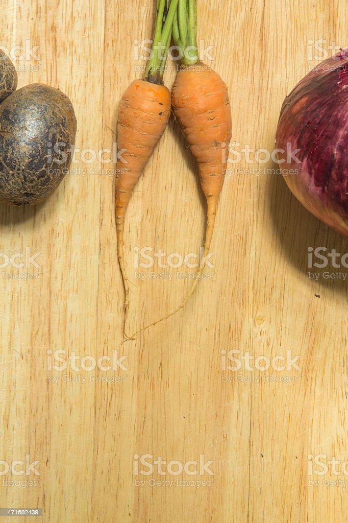 Carrots Potatos and Onion royalty-free stock photo