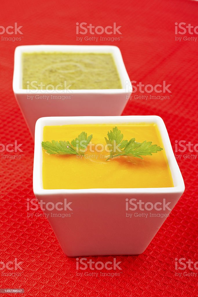 Carrots puree with parsley and spinach royalty-free stock photo