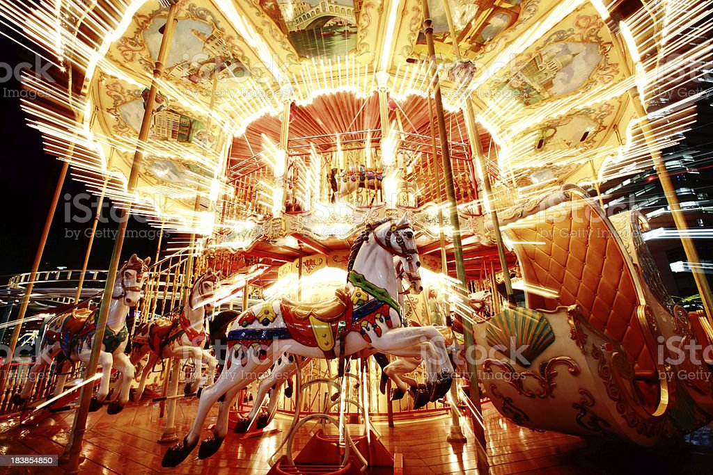 Carrousel at Night stock photo