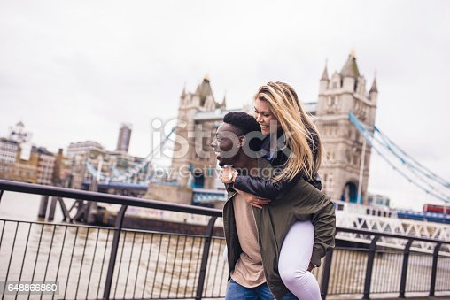 A young couple enjoying each others company outdoors in London