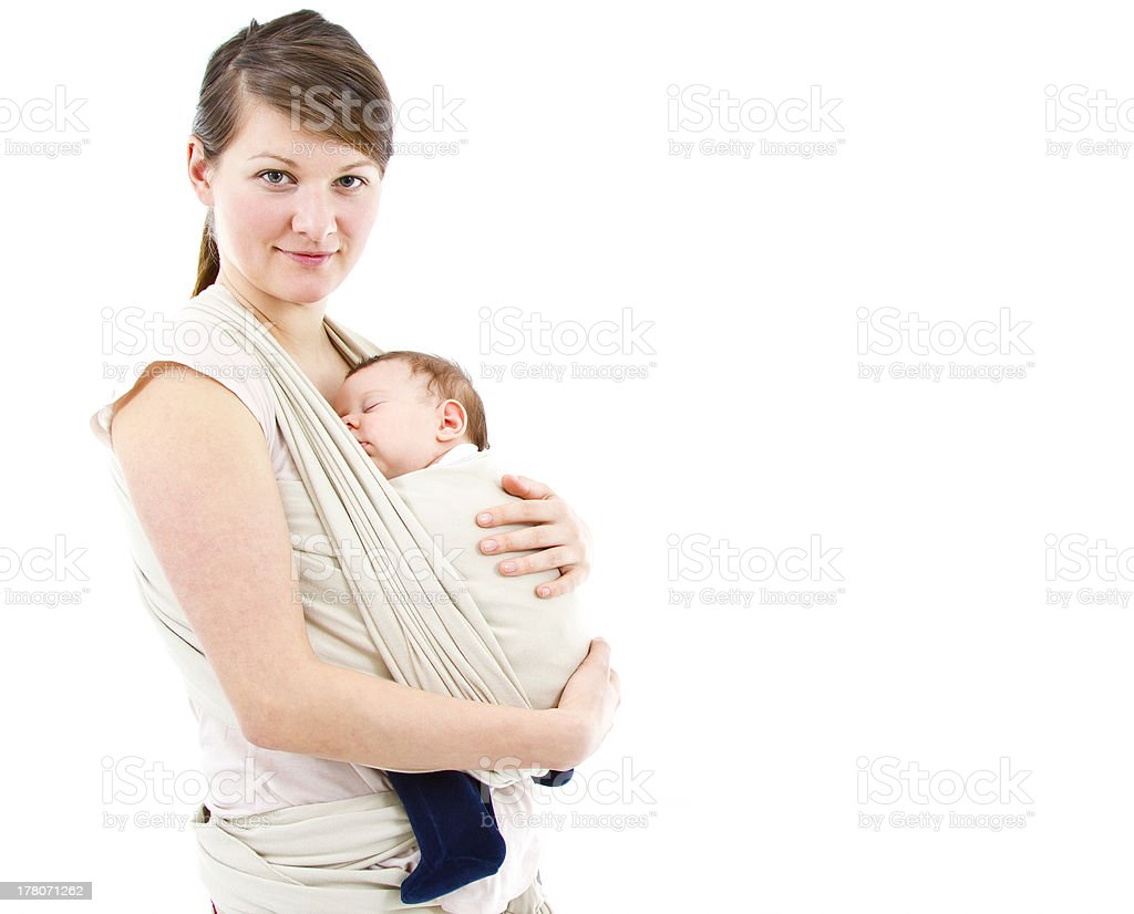 carrying a baby stock photo