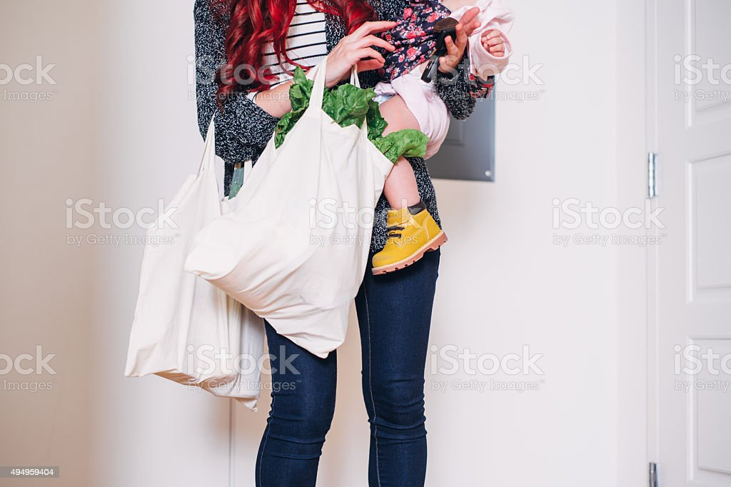 Carrying Groceries In stock photo