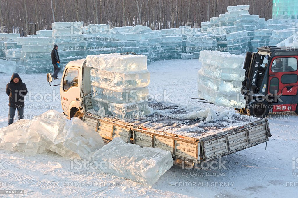 superb ice block construction #4: Asia, Building - Activity, China - East Asia, Construction Industry,  Construction Site. Carrying ice block ...