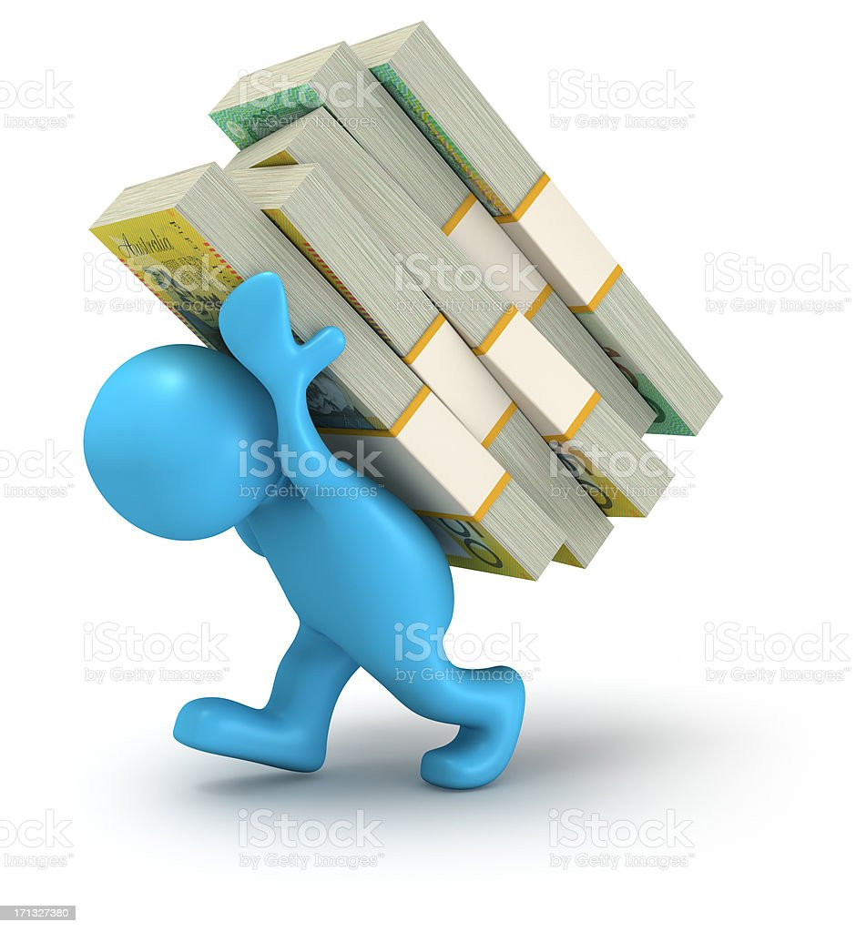 Carrying Money. Australian Dollars. royalty-free stock photo