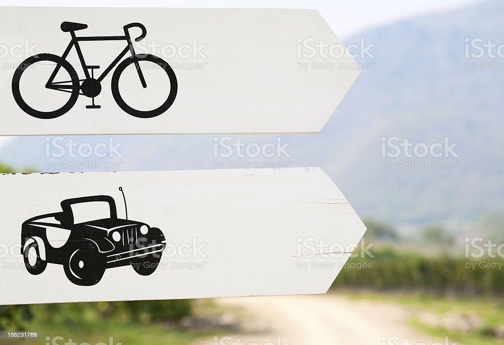 Cars and Bikes Way Sign royalty-free stock photo