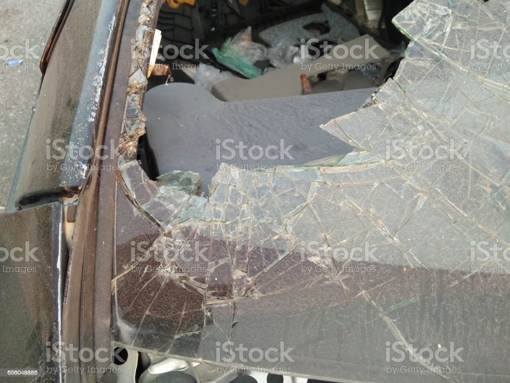 Cars and broken glass from accident