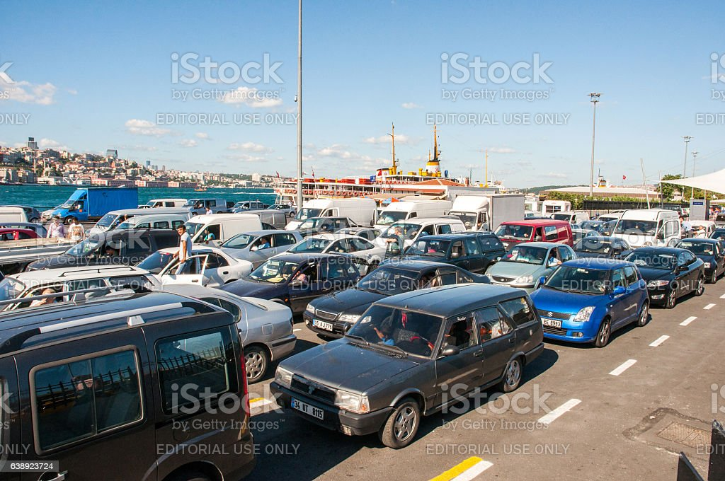Cars and drivers waiting for ferry stock photo