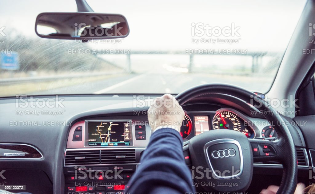 cars and lorries on the M6 Motorway stock photo