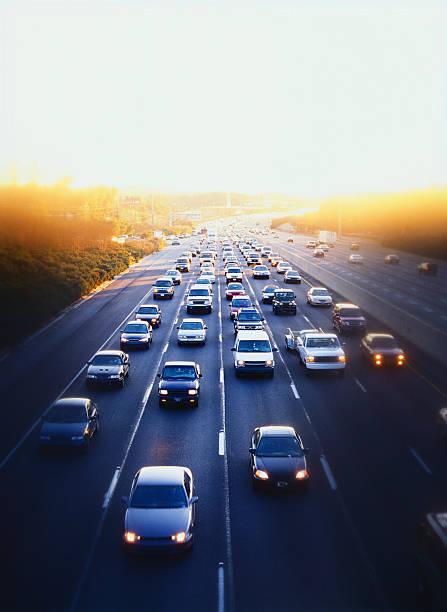Cars and simi-trucks on expressway in downtown Atlanta, Georgia stock photo