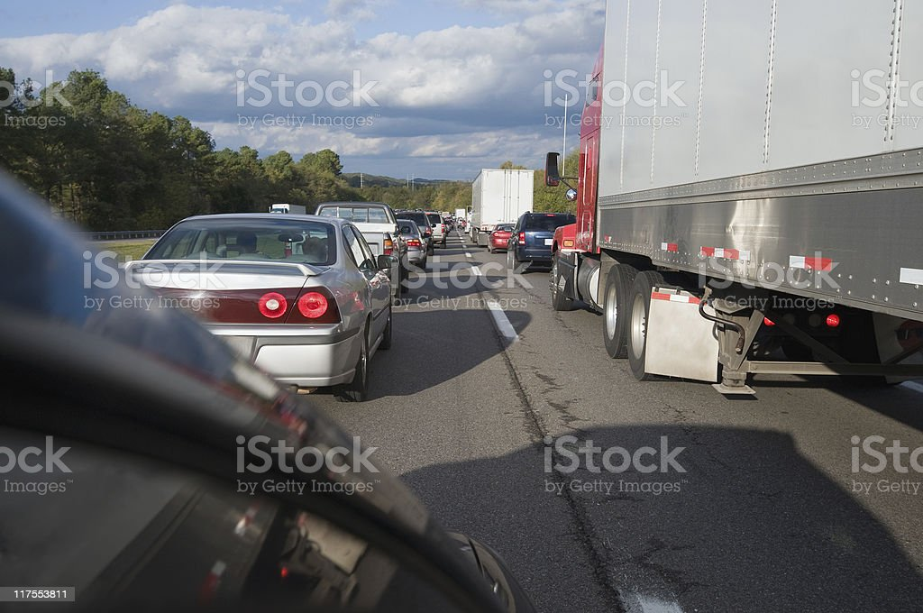 Cars and Trucks Stuck in Traffic Jam royalty-free stock photo