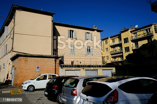 Cars are seen parked on the sight of street in central  Siena in Italy on Oct. 27, 2019