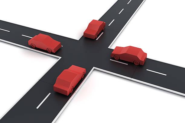 Autos an einer Kreuzung von 4 – Foto