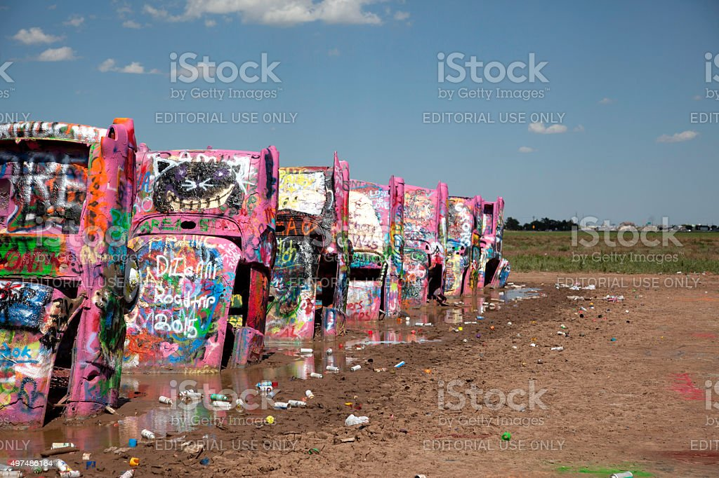 Cars at Cadillac Ranch stock photo