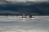 Cars with tourist at Salar de Uyuni Potosi, Bolivia