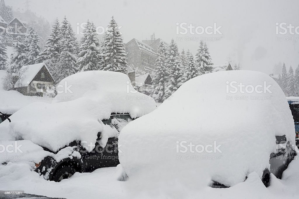 Cars covered on snow royalty-free stock photo