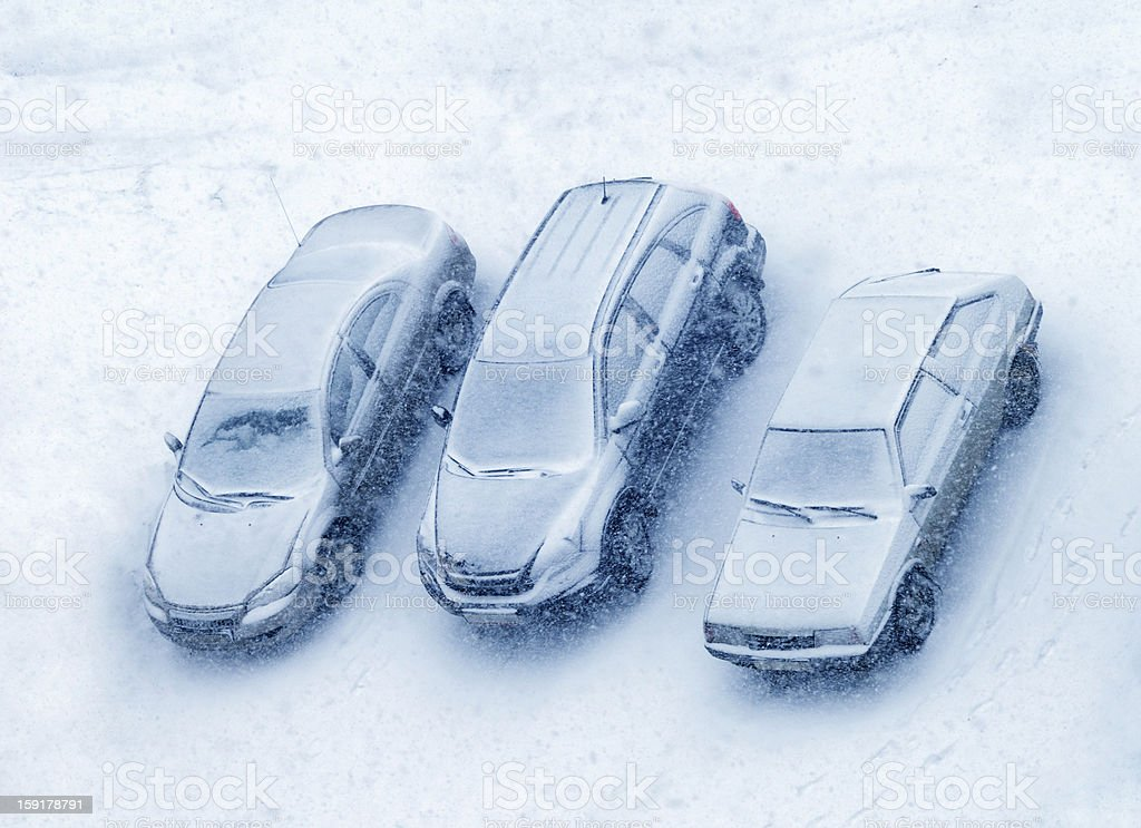 Cars covered with snow royalty-free stock photo