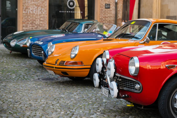 Cars display in Piazza Grande at the end of Modena 100 Ore Classic MODENA, ITALY - June, 2018. Cars display in Piazza Grande at the end of Modena 100 Ore Classic piazza grande stock pictures, royalty-free photos & images