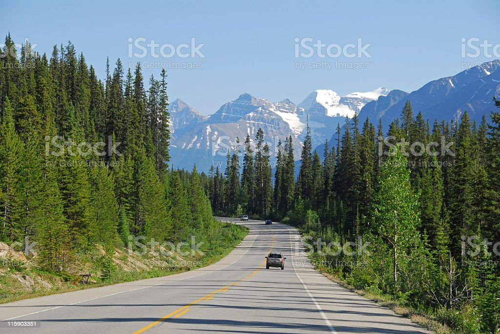 Cars driving the Icefields Parkway in Jasper National Park,Canada royalty-free stock photo